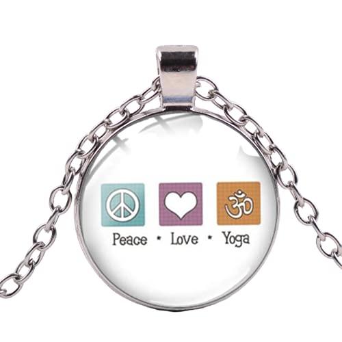 Creativo Yoga Club Colgante Collar I Love Yoga Arte Letras Impreso Hecho A Mano Cristal Cabujón Collar Largo Member Souvenir