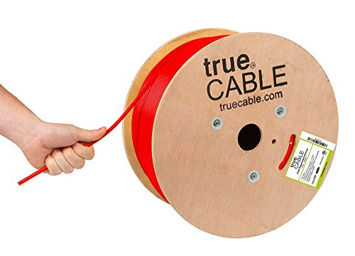 trueCABLE Cat6A Plenum (CMP), 1000ft, Red, 23AWG 4 Pair Solid Bare Copper, 750MHz, ETL Listed, Unshielded Twisted Pair (UTP), Bulk Ethernet Cable
