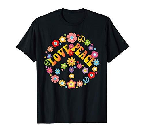 PEACE SIGN LOVE 60s 70s Tie Die Hippie Disfraz Camisa Camiseta