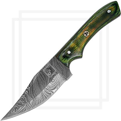USQUARE UE-010, Cuchillo de Caza de Acero Damasco de 20,95 cm con Funda, Cuchillo de Hoja Fija, Cuchillo bushcraft, Mango de Madera Verde Pakka, Espiga Completa, desarrollado para Caza y Camping