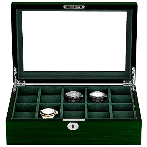Caja de 10 relojes para hombres caja de exhibición de madera de lujo regalo caja de almacenamiento con ventana de cristal grande, caja organizadora de reloj con interior de terciopelo verde suave