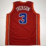 Autographed/Signed Allen Iverson Syracuse Nationals Nats Red Basketball Jersey PSA/DNA COA