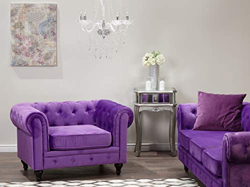 Beliani Klassischer Sessel im englischen Stil Samtstoff Violett Chesterfield