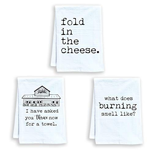 Funny Dish Towels, Set of 3, Funny Kitchen Towels, Fold In The Cheese, What Does Burning Smell Like? I Have Asked You Thrice Now For A Towel