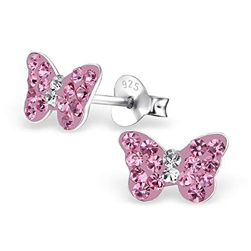 Monkimau Mädchen Ohrringe Schmetterling Ohrstecker aus 925 Sterling Silver echt Silber mit 32 Kristallen