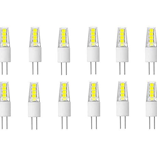 Gmasuber Bombillas LED G4 G4 Base Bi-Pin 12 V G4 Bombilla LED 2 W 20 W halógeno reemplazo blanco frío 6000 K bombillas LED, bajo voltaje AC/DC 12 V, no regulable, 10 LED 2835 SMD, 12 unidades