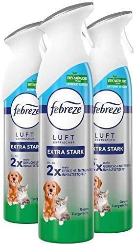 Febreze Lufterfrischer (900 ml) gegen Tiergerüche, Raumspray entfernt Gerüche und hinterlässt Frischeduft (3 x 300 ml)