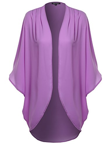 Solid Short Sleeve Oversize Open-Front Kimono Style Cardigan Lavender L