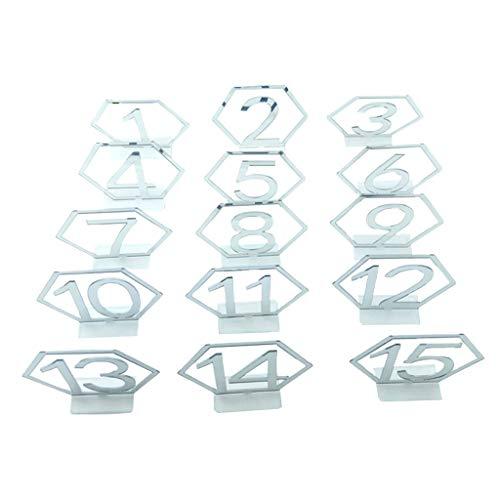 Nobranded 1-15 Números de Acrílicos Decoración de Centro de de Fiesta con Forma Hexagonal Independiente - Plata, El 11x10.2x0.15cm