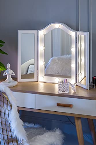 LUXFURNI Vanity Lighted Tri-fold Makeup Mirror with 10 Dimmable LED Bulbs, Touch Control Lights Tabletop Hollywood Cosmetic Mirror (White)