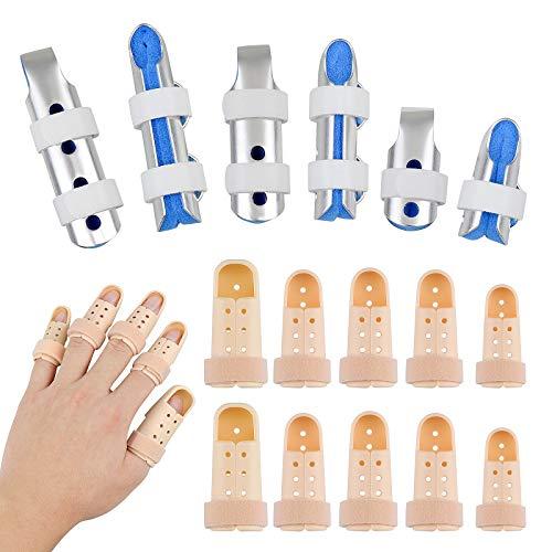 Homgaty 16 juegos de férulas de dedo, 10 piezas de plástico de apoyo para férula de dedo y 6 piezas de metal para el dedo estabilizador ajustable