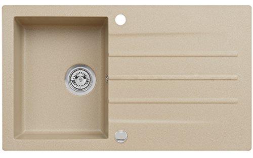 Axigran Granitspüle Mojito 100 Küchenspüle Axis Beige Einbauspüle 50er Unterschrank Spülbecken Siphon, Exzenterbedienung, Ausschnittschablone 86x50 cm Granit