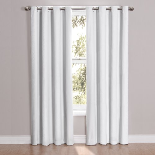 Eclipse 52' x 84' Insulated Darkening Single Panel Grommet Top Window Treatment Living Room, White