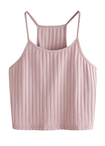 SheIn Women's Summer Basic Sexy Strappy Sleeveless Racerback Crop Top Pink Small