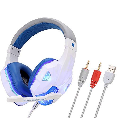 LIMTT Professionele LED-headset voor Computerspellen PS4 Lichtgevende Headset met Microfoon voor tTblette voor Laptop, Smartphone Mac, PC Wit Drie interfaces