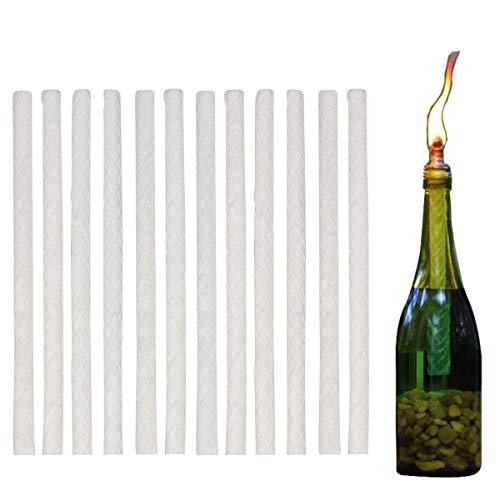Maxmiko Tiki Torch Wick Ersatz, 12 Pack Weinflasche Tiki-Docht Licht Long Life Fiberglas Tiki Fackeln Dochte für Öllampen Kerzentisch Fackel Gartenleuchten