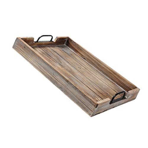Cabilock Plato de madera para té, bandeja rectangular de madera con asa para aperitivos, frutas, platos rústicos de madera para boda, decoración de mesa de bambú