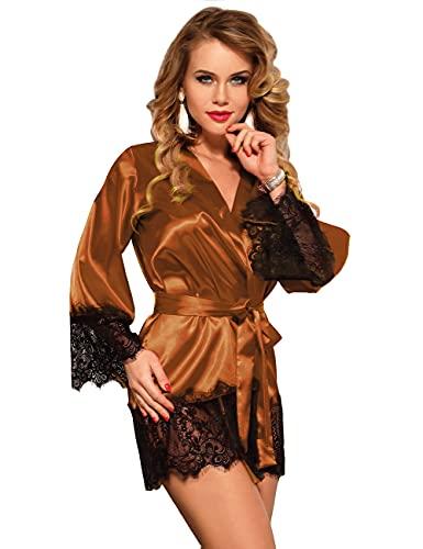 ohyeahlady Kimono Mujer Bata Satén Sedoso con Encaje Suave, Ropa de Dormir Seda Bata para Invierno, Batas de Novia Dama de Honor (A-Marrón, M-L)