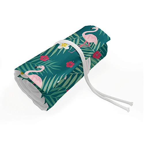 ABAKUHAUS Flamingo Mäppchen Rollenhalter, Tropische Pflanzen Hibiscus, langlebig und tragbar Segeltuch Stiftablage Organizer, 72 Schlaufen, Dunkle Teal Rose Magenta
