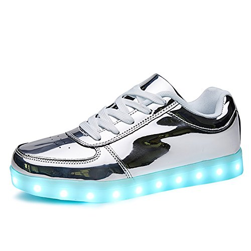 SANYES USB Charging Light Up Shoes Sports LED Shoes Dancing Sneakers SYDB551-Silver-41