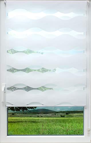 sunlines Welle Klemmfix, Weiss, 100 x 150 Doppelrollo, PES, 100 x 150cm