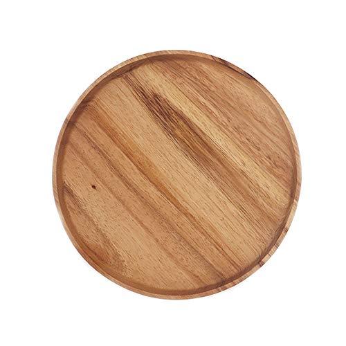 LICHAO 13-inch Log-Gekleurde ronde houten plaat ontbijtbord, dik, geïsoleerd, geschikt voor thee, koffie, broodjes, melk, enz.