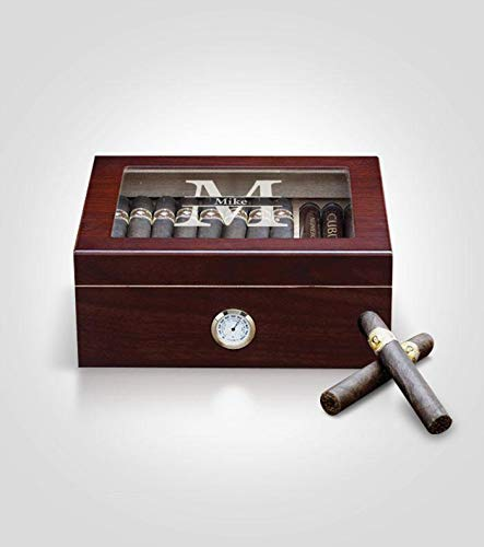 Desktop Cherry Cigar Humidor Split Template Box with Lid | Custom Personalization | Lined with Genuine Spanish Cedar | Hygrometer, Humidifier and Glass Sophistication Top Box