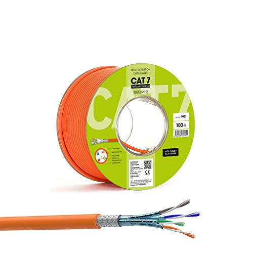 SatShop-Ft 100m CAT 7 Verlegekabel Netzwerkkabel 1000 MHz CAT7 LAN Halogenfrei Installationskabel CAT7 Kabel Netzwerk Datenkabel 10 Gigabit Kupfer Ethernet (100m Spule, Cat 7)
