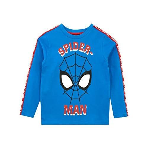 Marvel Maglietta a Maniche Lunga per Ragazzi Spiderman Blu 7-8 Anni