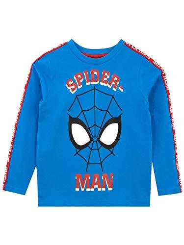 Marvel Camiseta de Manga Larga para niños Spiderman Azul 8-9 Año