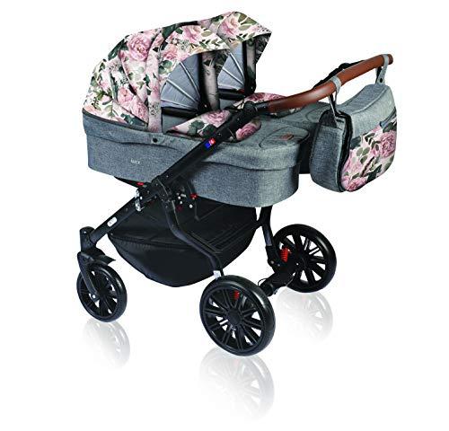Dorjan Quick Twin Zwillingskinderwagen (Seite-an-Seite) Kombi kinderwagen Duo Buggy Wickeltasche + Regenschutz + Insektenschutz (3in1 (inkl. Babyschalen), (TQ19) Grau-Blumen)