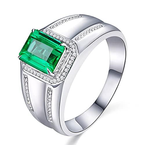 Amody Anillo Compromiso Oro Blanco, Anillo de Matrimonio para Hombre con Diamante y Esmeralda 1.2ct Tamaño 18,5