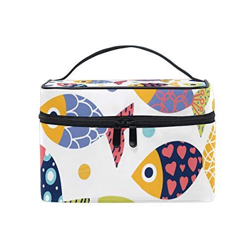 BALII Kosmetiktasche mit Fischmotiv, für Reisen, Make-up, Aufbewahrung, Organizer für Frauen und Mädchen