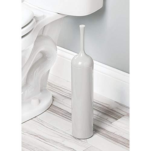 Escobilla del w/áter y soporte de pl/ástico resistente color crema Escobillero de pie delgado para el ba/ño principal o aseo mDesign Portaescobillas con dise/ño elegante