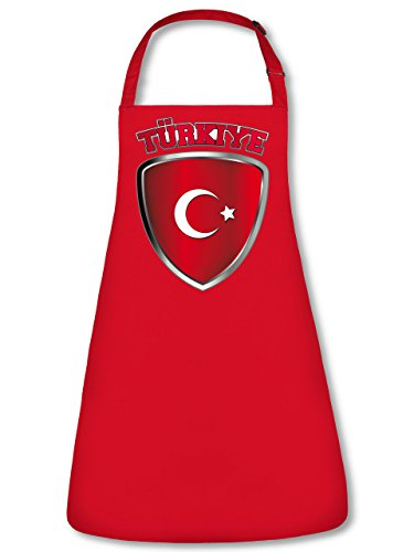 Golebros Turkei Turkey Türkiye Fan Artikel 4676 Fuss Ball Trikot Look WM 2022 Football jarse Team World Cup Unisex Koch Latz Küchen Grill Schürze Rot