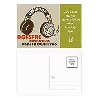 茶色のヘッドセットのロック・ミュージック・クレイジー 詩のポストカードセットサンクスカード郵送側20個
