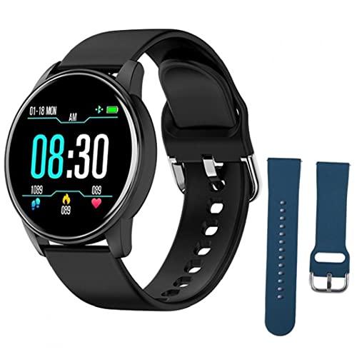Eaarliyam Smart Watches Silicone Sports ZL01 Pulsera Inteligente con Correa de Repuesto Azul Tracker Tracker Prueba de Ritmo cardímetro Pedómetro para Hombres Negros