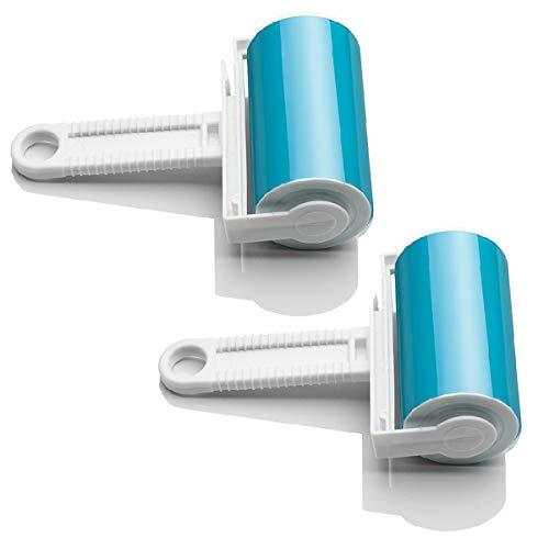JZK 2 x Lavable Reutilizable Rodillo pegajosos Cepillo para atrapar Pelusas para Pelo Mascotas Ropa alfombras alfombras Coche