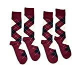 Bop Classy Men's Dress Crew Socks Argyle Pattern 2 Pair Set - Premium Cotton (Burgundy)