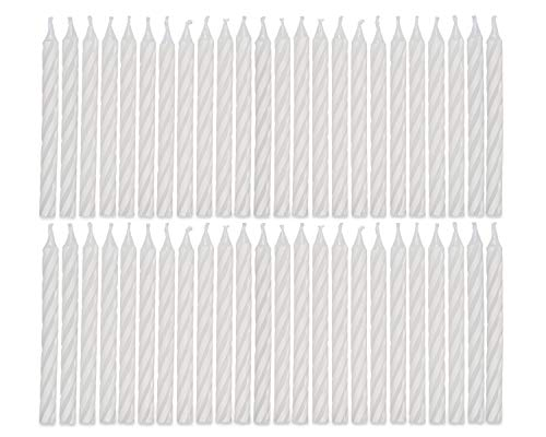 American Greetings Party Supplies, White Spiral Birthday Candles (48-Count)
