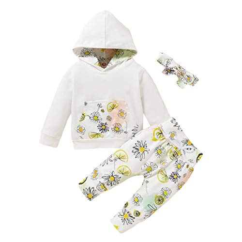 puseky Neugeborene Baby Mädchen Blumen Outfits Langarm Hoodie Shirt Hosen Stirnband Kleidung