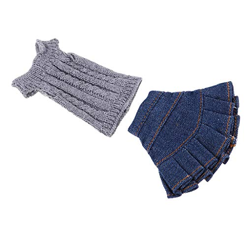 Fityle Knitted Sweater Tops Skirt Suit Clothes for 1/6 Blythe Licca OB Our Generation Dolls Winter Outfit Accessories Gray&Blue