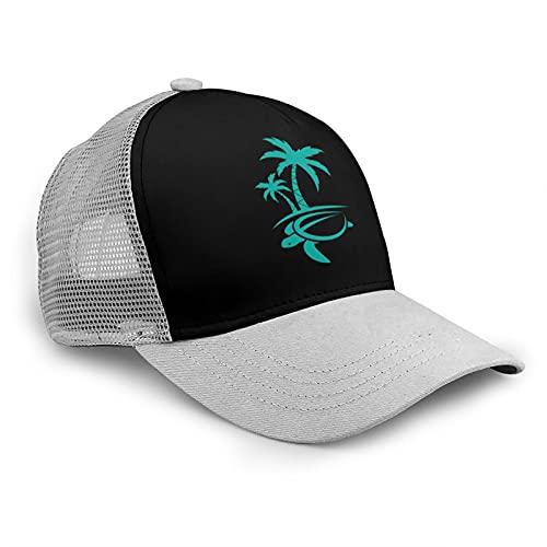 Hawaiian Palm Tree and Sea Turtle Fashion Cool Boutique Mesh Transpirable Gorra de béisbol Unisex Print As-Hip Hop Negro Snapback Sombreros, gris, Taille unique