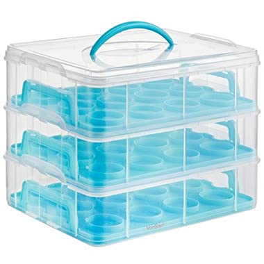 VonShef Snap and Stack Blue 3 Tier Cupcake Holder & Cake Carrier Container - Store up to 36 Cupcakes or 3 Large Cakes