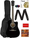 Fender FA-125CE Dreadnought Cutaway Acoustic-Electric Guitar - Black Bundle with Gig Bag, Strap, Strings, Picks, Fender Play Online Lessons,...