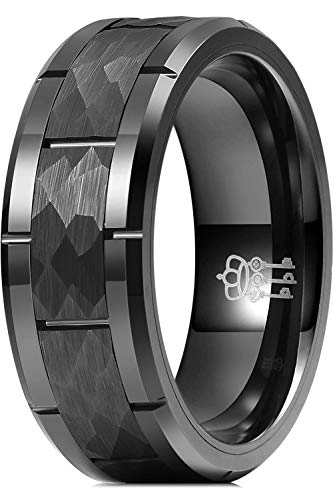 THREE KEYS JEWELRY Mens Charming Jewelry Tungsten Hammered Polished Wedding Carbide Ring Band for Men Engagement Black Size 11