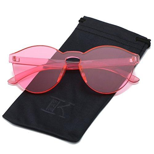 LKEYE-Fashion Party Rimless Sunglasses Transparent Candy Color Eyewear LK1737 Pink Frame