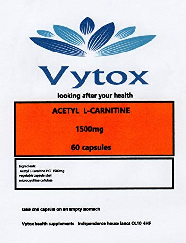 MAX Strength Acetyl L-Carnitine 1500mg 60 Capsules, 2 Months Supply, by vytox, High Strength, Vegetarian