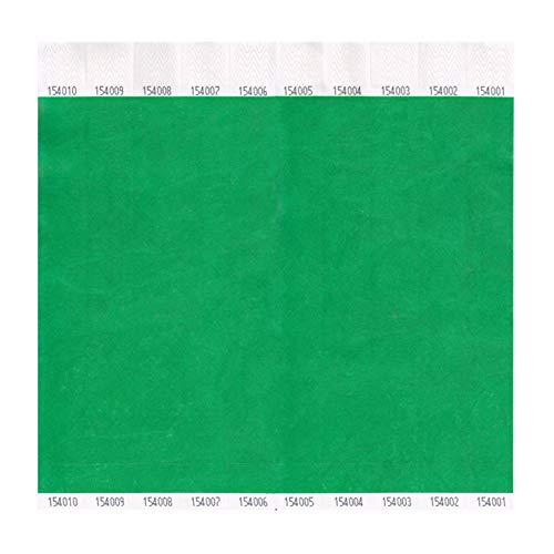 Tyvek Wristbands, Plain, Green, by ClubKing Ltd
