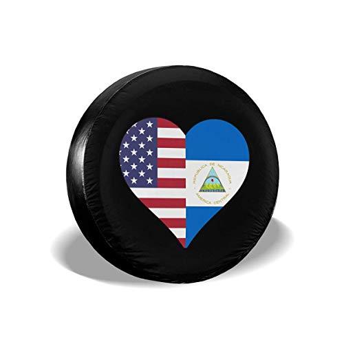 WCHAO La Mitad de la Bandera de Nicaragua La Mitad de la Bandera de los Estados Unidos Amor Corazón Tipo de neumático de Repuesto Cubierta de Rueda Universal